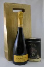 Delikaatne ja noobel šampanja meetodil valmistatud Cava, mis on valitud maailma 35 parima vahuveini hulka ja Prantsuse ökotootja suussulavad  Fizzy trühvlid kinkekotis